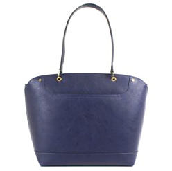 A blue leatther tote. Shop handbags.