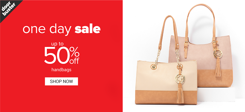 A beige and light brown handbag with gold chains and a fringe tassel. A pale pink and light brown handbag with a fringe tassel. One Day Sale. Doorbuster. Up to 50% off handbags. Shop now.
