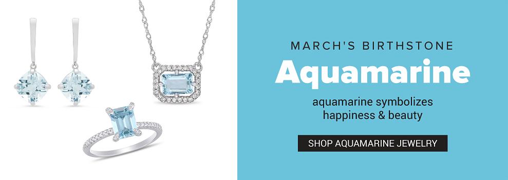 Aquamarine & silver earrings, an aquamarine & silver pendent necklace & an aquamarine & silver ring. March's birthstone is Aquamarin. Aquamarine symbolizes happiness & beauty. Shop aquamarine jewelry. Shop all birthstone jewelry.