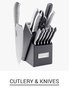 A kitchen knife set in a black block. Shop cutlery & knives.