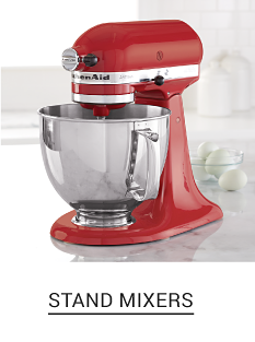 A red KitchenAid stand mixer. Shop stand mixers.