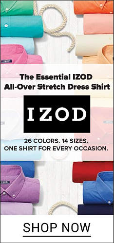 An assortment of rolled dress shirts in a variety of colors The essential Izod all over stretch dress shirt. Izod. 26 colors. 14 sizes. One shirt for every occasion. Shop now.