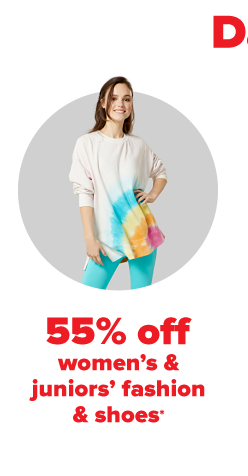 A woman in a white crewneck sweater with a tie dyed rainbow on the lower left hand side of the shirt and bright blue pants. 55% off women's and juniors' fashion and shoes.
