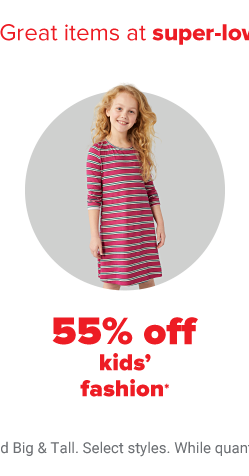 A little girl in a long sleeve, knee length red and grey striped dress. 55% off kids' fashion.