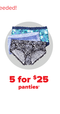 Three pairs of full coverage underwear in various colors and patterns. Five for $25 panties.