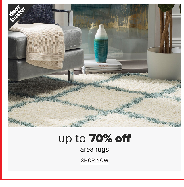 A teal & white grid patterned print area rug on a living room floor. Doorbuster. Up to 70% off area rugs. Shop now.