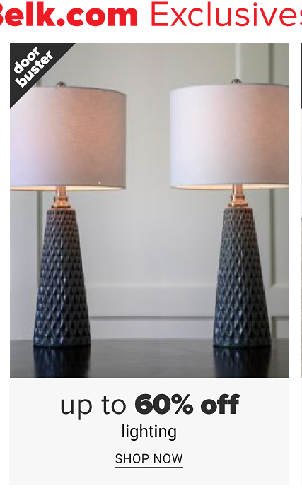 Two textured navy lamps with light pink lampshades. Doorbuster. Up to 60% off lighting. Shop now.