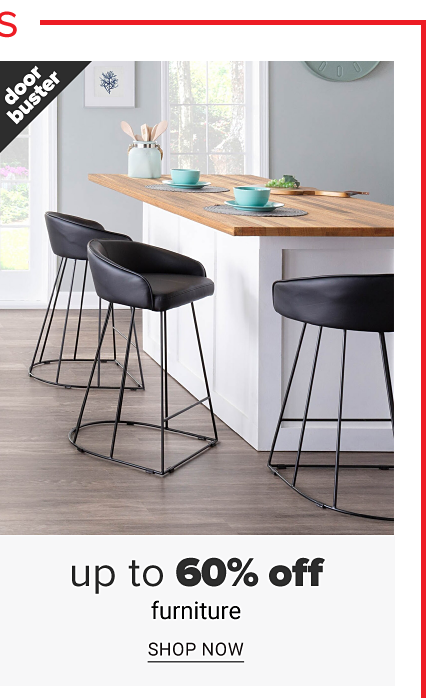 Three black leather upholstered bar stools surrounding a kitchen island. Doorbuster. Up to 60% off furniture. Shop now.