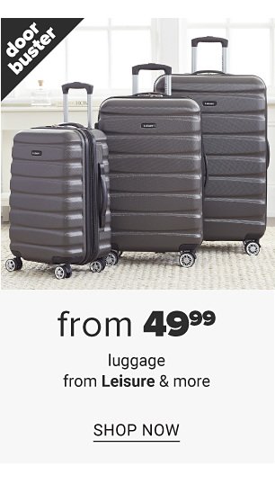 A dark gray 3 piece hardside luggage set. Doorbuster. From $49.99 luggage from Leisure & more. Shop now.