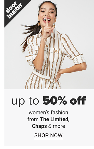 A woman wearing a white & gold vertical striped short sleeved belted dress. Doorbuster. Up to 50% off women's fashion from The Limited, Chaps & more. Shop now.