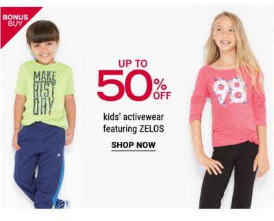 Bonus Buy - Up to 50% off kids' activewear featuring ZELOS. Shop Now.