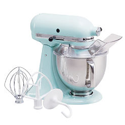 A light blue Kitchen Aid mixer with attachments. Shop stand mixers.