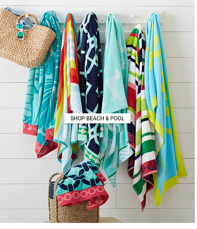 An assortment of beach towels and pool accessories. Shop beach and pool.