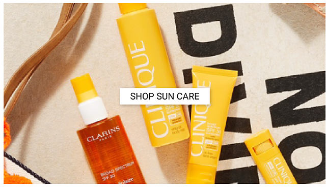 An assortment of sun care products. Shop sun care.