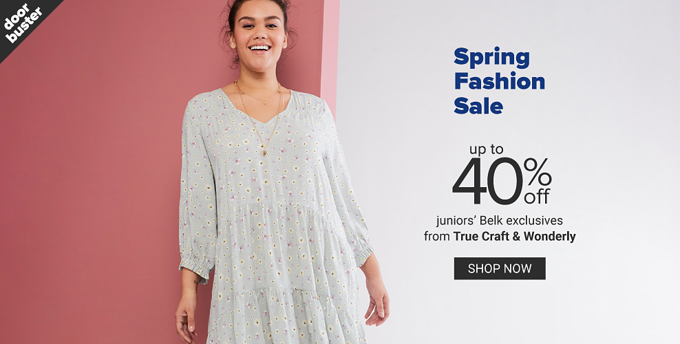 A young woman in a tiered three quarter length sleeve floral dress. Doorbuster. Spring fashion sale. Up to 40% off juniors' Belk exclusives from True Craft and Wonderly. Shop now.