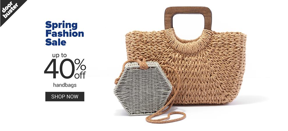 A small grey wicker box handbag next to a straw light brown handbag. Spring fashion sale. Doorbuster. Up to 40% off handbags. Shop now.