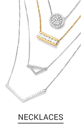 An assortment of necklaces in both silver and gold with a variety of pendants, diamonds and charms. Shop necklaces.