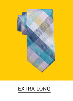 A blue, white and navy plaid tie. Shop extra long.