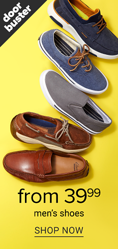 An assortment of men's shoes in a variety of colors, styles and designs. Doorbuster. From 39.99 men's shoes. Shop now.