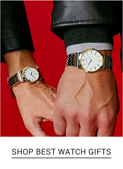A man's watch with a white dial and gold and silver metal strap. A woman's watch with a white dial and gold and silver metal strap. Shop luxe gifts.