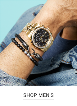 A man's watch with a black dial and gold strap. Shop men's