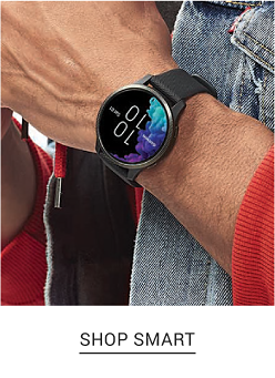 A smart watch with a black dial and a black strap. Shop smart.