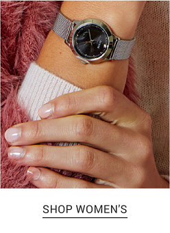 A woman's classic watch with a black dial and a silver metal strap. Shop women's