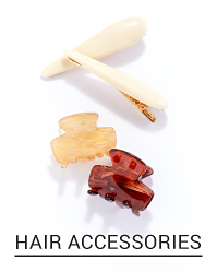 A variety of hair clips in brown, white and linen white. Shop accessories.