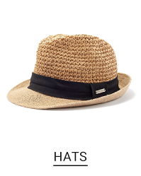 A straw fedora hat with a black band. Shop hats.