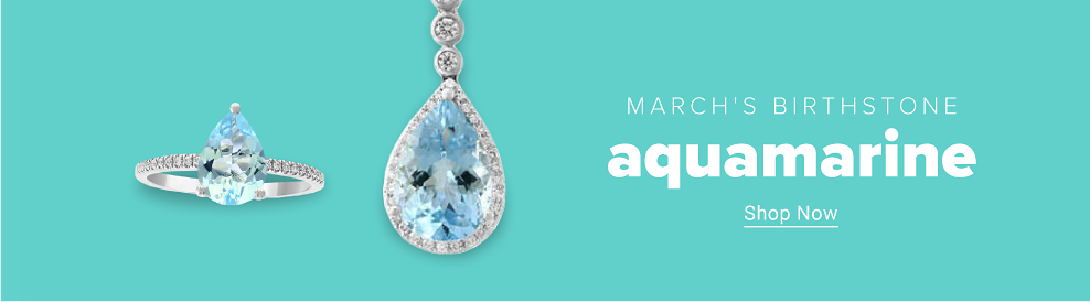 An aquamarine teardrop pendant. A matching silver ring with an aquamarine teardrop center. March's birthstone. Aquamarine. Shop now.