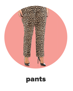 Close up of ankle length dress pants in black and brown cheetah print. Shop pants.