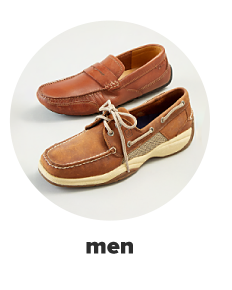 A men's lace-up boat shoe in brown. A men's leather dress shoe in brown. Mens.