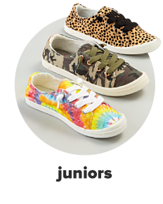Three lace-up canvas sneakers in tie dye, camo and leopard prints. Juniors.