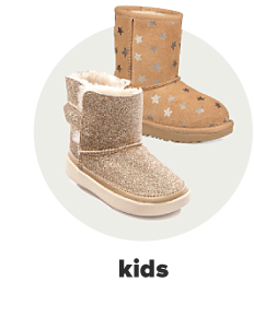 A girl's shimmery gold boot with faux fur. A girl's tan boot with a star print. Kids.