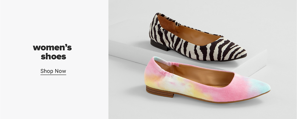 A pointed-toe ballet flat in black and white zebra print. A pointed-toe ballet flat in pastel tie dye. Women's shoes. Shop now.