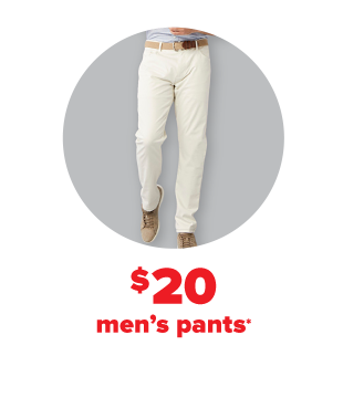 A man wearing off-white dress pants. $20 men's pants.