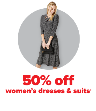 A woman wearing a gray dress. 50% off women's dresses and suits.