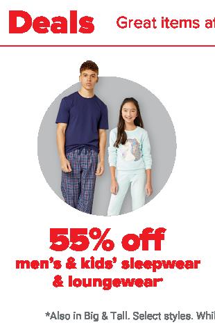 A man wearing a two-piece navy blue pajama set. A little girl wearing a two-piece, light blue pajama set. 55% off men's and kids' sleepwear and loungewear.