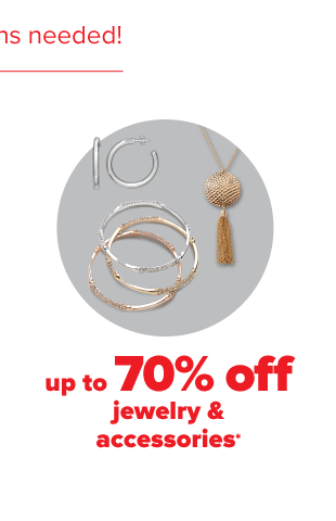 A pair of hoop earrings. Gold and silver bracelets and a gold drop necklace. Up to 70% off jewelry and accessories.