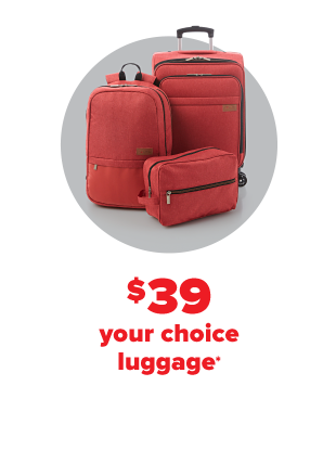 A red luggage set. $39 your choice luggage.