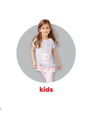 A little girl in a gray shirt with an Easter bunny on it and three layers of ruffles on the hem with pink and white striped pants. Kids.