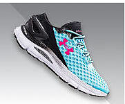 A women's Under Armour shoe in teal and black, with a hot pink logo.