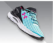 A women's Under Armour sneaker in black and teal with a hot pink logo.