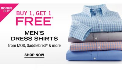 Bonus Buy - Buy 1, get 1 free* men's dress shirts from IZOD, Saddlebred® & more. Shop Now.