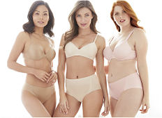 1d44e10824 Three women wearing different colors   styles of bras   panties.