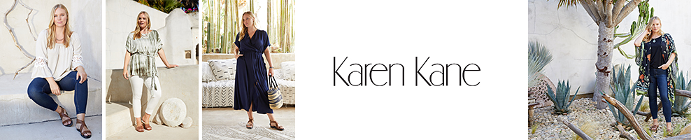 A woman in a white long sleeve top, jeans and brown sandals. A woman in a green and white tie dye blouse, white jeans and brown sandals. A woman in a navy short sleeve maxi dress and brown sandals. A woman in a navy top, a printed kimono, jeans and sandals. Karen Kane.