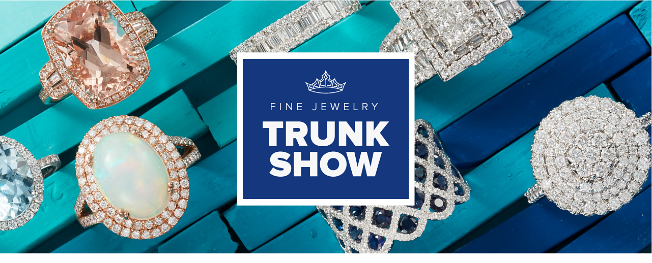 An assortment of rings in a variety of colors, styles and designs. Fine jewelry trunk show.