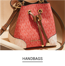 A pink, brown and beige handbags with Michael Kors logos. Shop handbags.