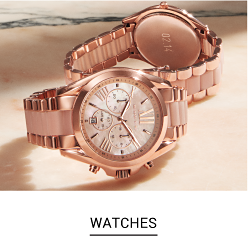 Two rose gold Michael Kors watchs. Shop watches.