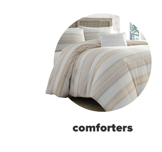 Tan and beige striped bedding. Shop comforters.